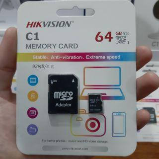 [Mã ELFLASH5 giảm 20K đơn 50K] Thẻ Nhớ Chính Hãng Hikvision C1 64 GB Và Hikvision C1 32GB - Bảo Hành 24 Tháng.