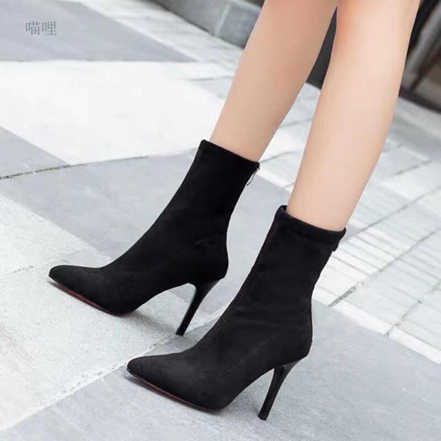 Giày boot nữ I Bốt da lộn cổ lửng gót nhọn 9p siêu chanh xả hàng loại 1 full box -Free ship 50k