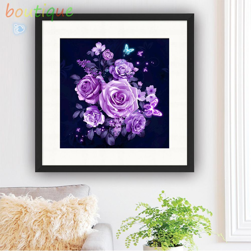 bou^♫Purple Rose 5D Diamond Painting Embroidery DIY Cross Stitch Home Decor☆