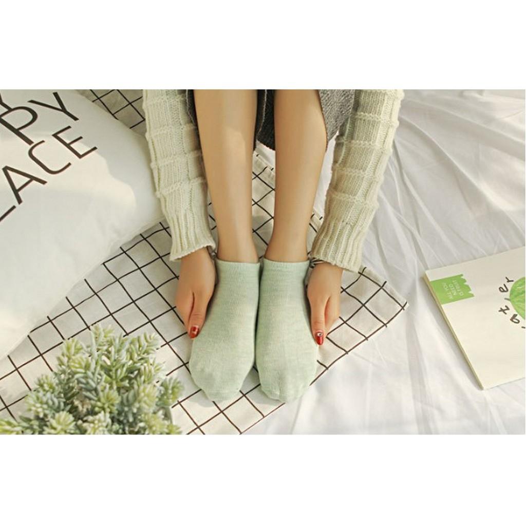 Tất trơn cổ ngắn nữ xuất Nhật , vải dày dặn, chất liệu cotton thoáng mát khử mùi QT004