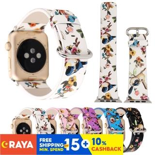 Dây Đeo Đồng Hồ Apple Watch 38mm / 40mm / 42mm / 44mm Bằng Da Pu Họa Tiết Hoa Và Chim Thời Trang