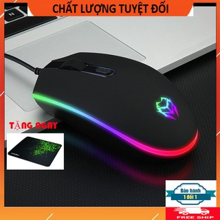 Chuột máy tính có dây V17 đèn led cao cấp, Tặng lót chuột thumbnail