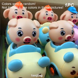Cartoon Pig Funny Gift Kids Pulling Back Swinging Head Toy Car
