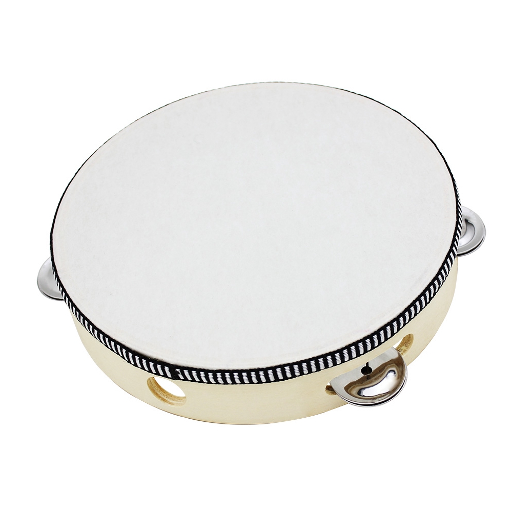 8'' Musical Tambourine For Kids Round Percussion Hand Held Sheepskin Drumhead Wooden Ring Drum Toy Educational
