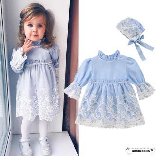 HGL♪Princess Kids Baby Girls Lace Dress Long Sleeve Party Pageant Dress+Hat Clothes
