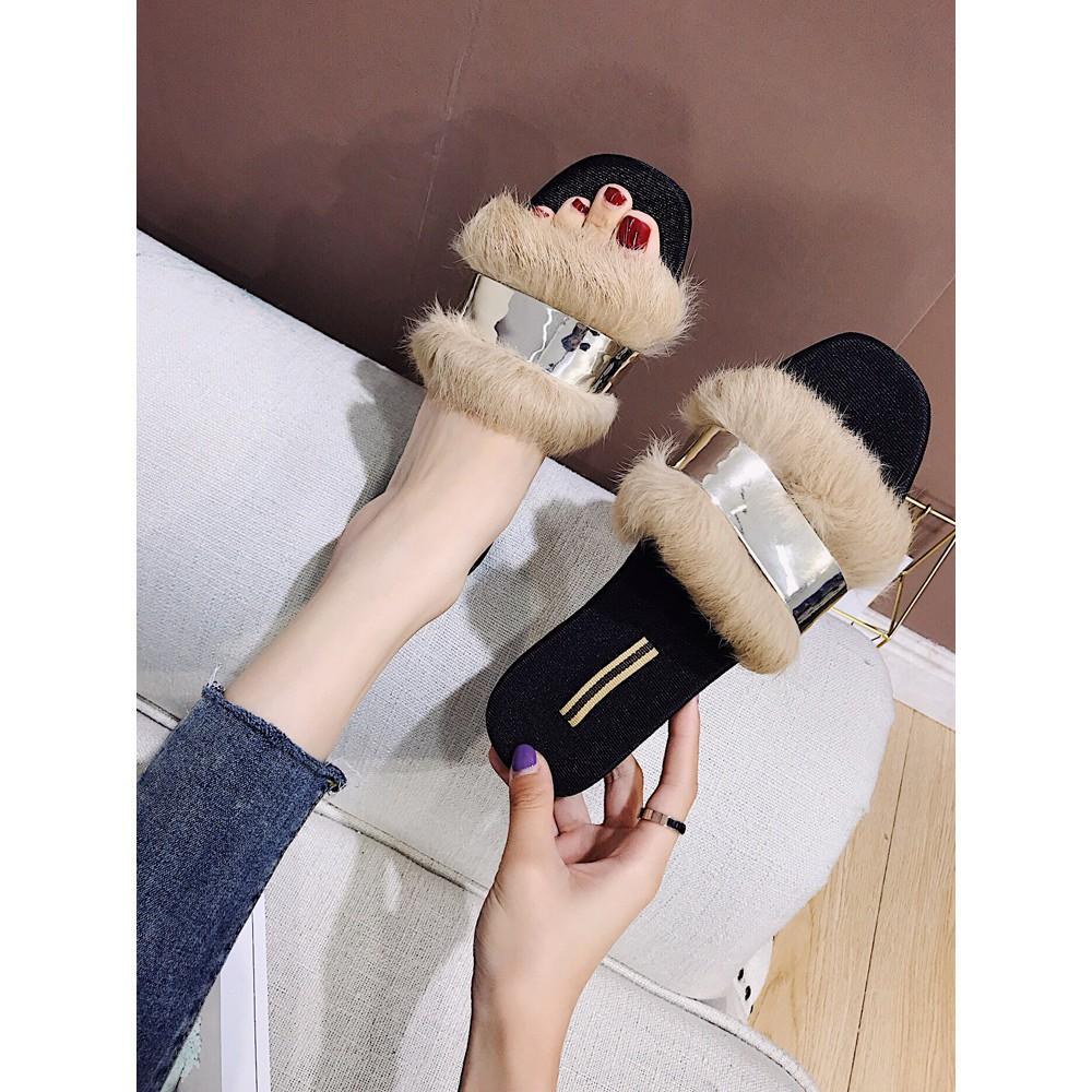 Korean fashion ladies fur coat lazy shoes