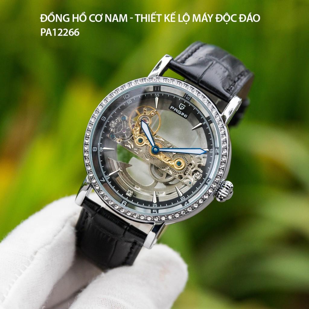 (Tặng Kèm Nhẫn Nam Ngẫu Nhiên) Đồng Hồ Nam PAGINI PA12266 Dây Da Cao Cấp Mặt Kính Chống Xước Chống Nước