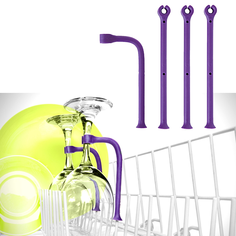 4Pcs / Set For Dishwasher Attachment Flexible Kitchen Cleaning Tool Unique Saver Silicone Wine Glass Holder