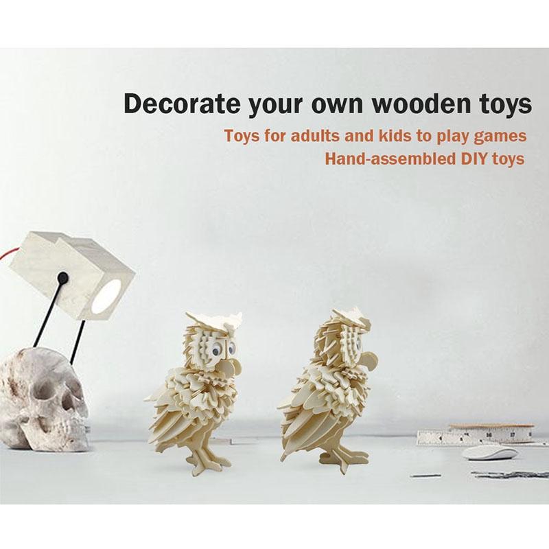 Owl Puzzle Jigsaw Woodcraft Kids Kit Toy Model DIY Construction Puzzle