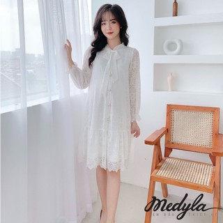 MEDYLA - Váy bầu thu đông 2 lớp ren cúc giả trước cúc thật cài sau - V359 thumbnail