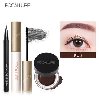 Set Mascara kèm bút kẻ mắt và gel lông mày FOCALLURE màu đen trang điểm chống nước 60g