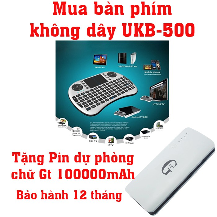 Bàn phím kiêm chuột không dây UKB KM-500 Mini Keyboard (Đen) tặng Pin sạc dự phòng Gt 10000mAh