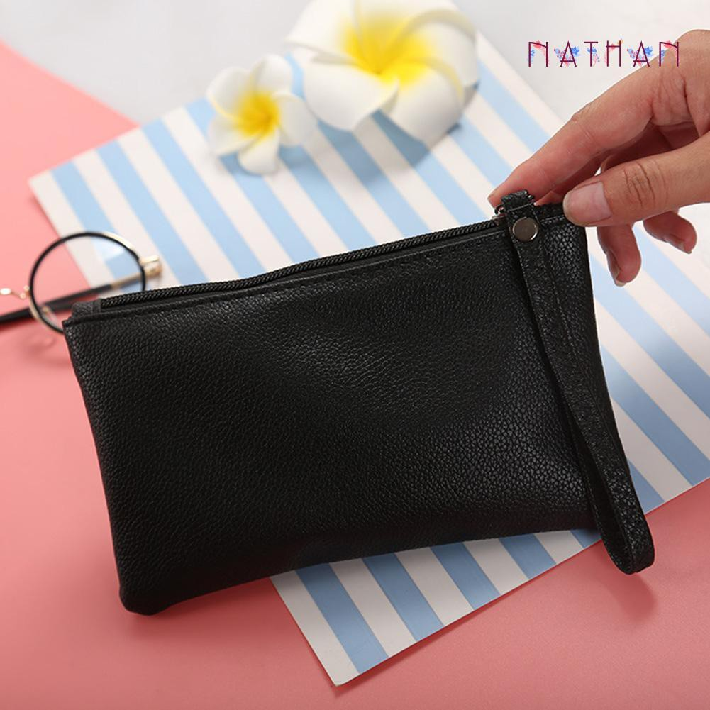 nathan fashion❀Leather Wallet Vintage Long Purse Card Holder Women Coin Clutch Handbags