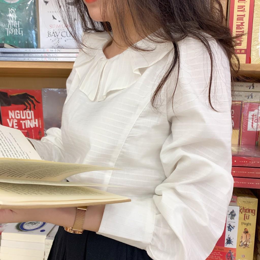 Áo sơ mi trắng tay dài, áo sơ mi trắng cổ tròn bánh bèo mã- AH2 - Freeship