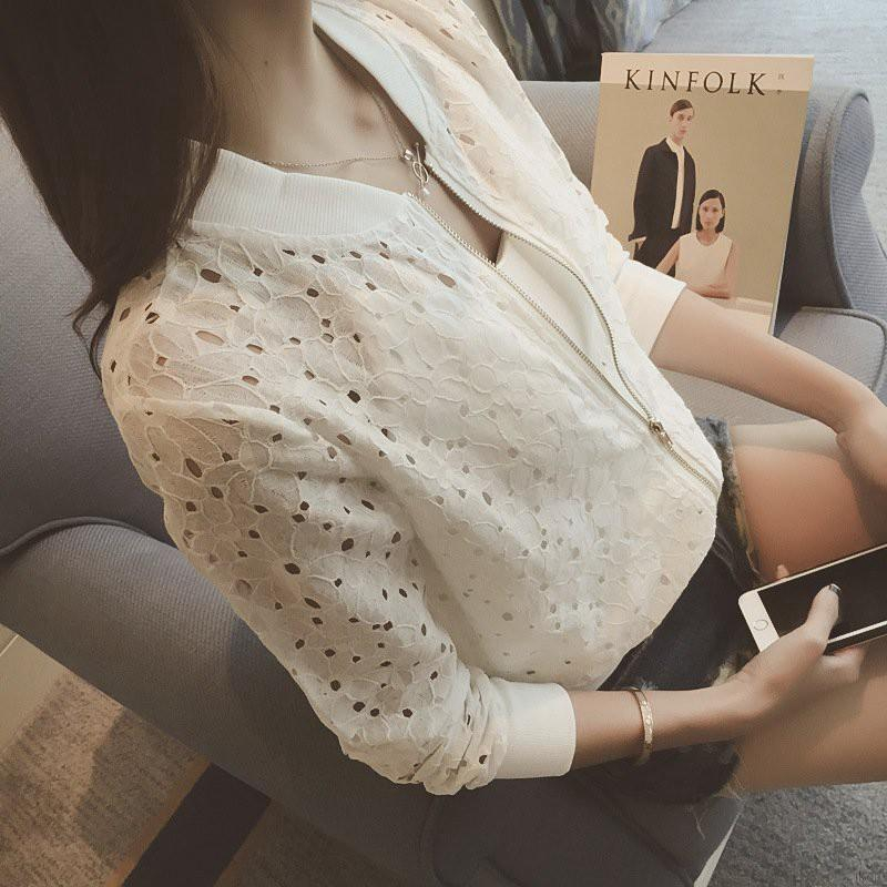 Áo khoác thiết kế ren mỏng khoác ngoài năng động cho nữ