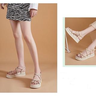 Giày Sandal Đế Bằng . Da Lì Quai Mảnh Đan Chéo 69250_151354