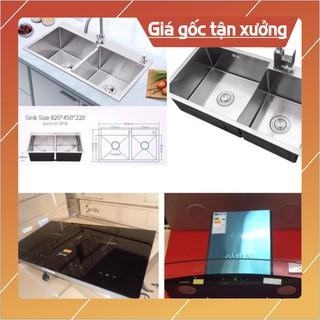 Combo trọn bộ thiết bị bếp ( Chậu rửa, vòi rửa, bếp từ đôi, hút mùi kính cong)