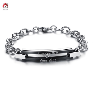 IKXRM Simple Fashion Men And Women Bracelet Letter Carving Titanium Steel Hand Chain Lovers Couple Trendy Jewelry Accessories