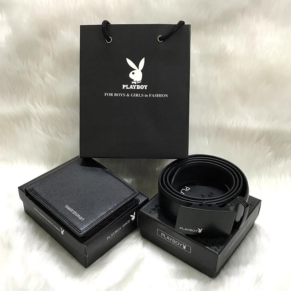 Combo ví + thắt lưng/ dây nịt nam khóa tự động có hộp đựng và túi tặng kèm