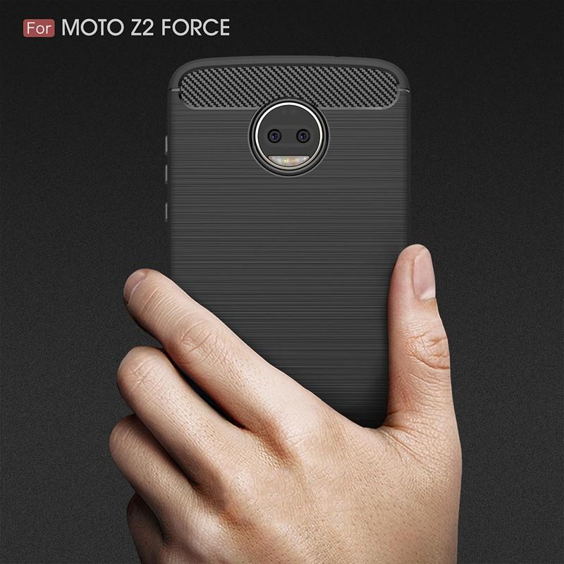 Ốp lưng TPU silicone mềm màu sợi carbon cho Motorola Z2 Force