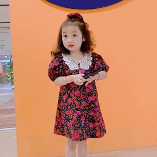 Váy Xuông Bé Gái Họa Tiết Hoa Hồng Cổ Ren Từ 7-25kg [V17-2021]