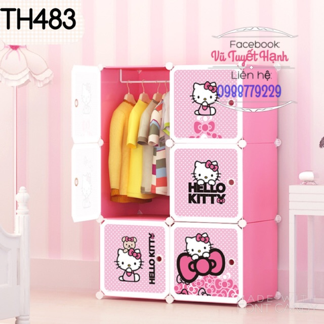 Tủ Nhựa Lắp Ghép Hello Kitty 6 Ô