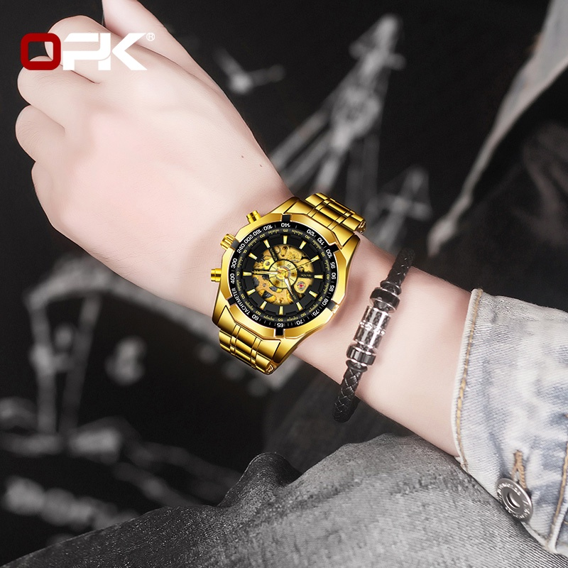 OPK 8660 Watch Men Genuine Automatic  Mechanical Waterproof Stainless Steel Strap Gold-plated Luminous Cool Unique