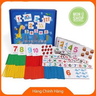 [GIÁ SIÊU TỐT] Bộ thẻ ghép matching số học Toán gỗ cho bé | Đồ chơi giáo dục sớm