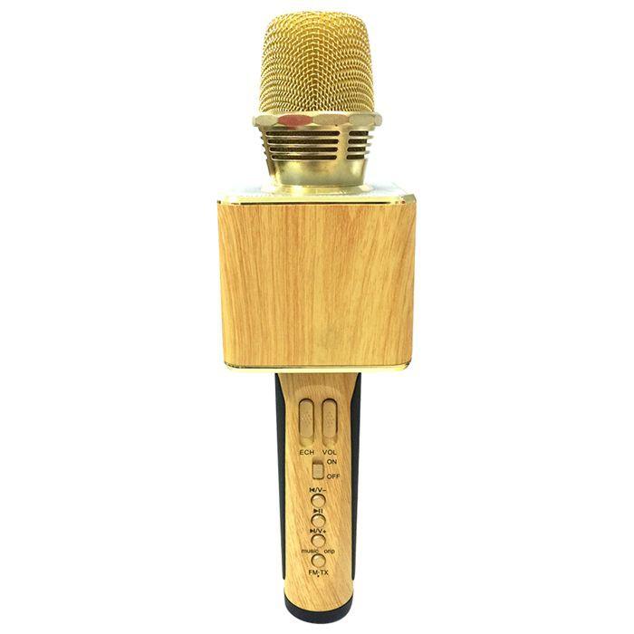 Micro Kèm Loa Bluetooth Karaoke OK-09 Ốp Gỗ (Vàng)