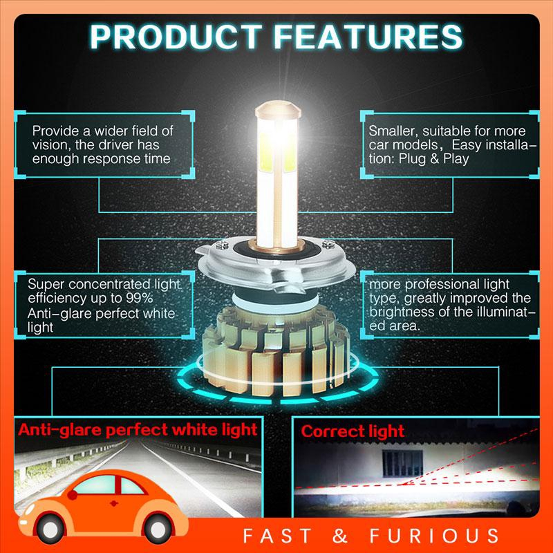 UU LED Fog Light Front Lamp Super Bright H4/HB2/9003 Headlight Bulbs Auto