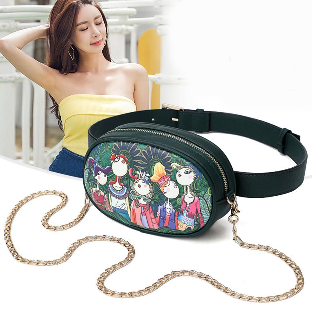 [SU]Leather Women Retro Printed Waist Packs Fanny Chain Shoulder Crossbody Bags