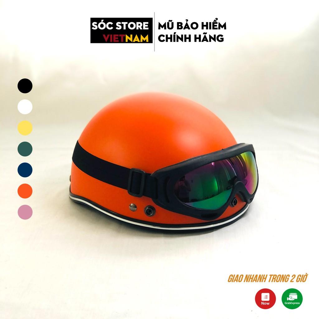 Mũ bảo hiểm nửa đầu chính hãng Sóc Store Vietnam màu cam kèm kính UV, kính phi công, nón bảo hiểm 1 phần 2 freesize