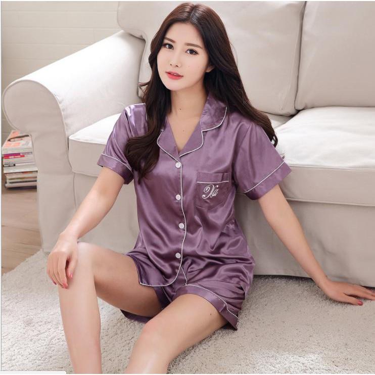 Đồ Ngủ Pijama lụa cao cấp bộ nữ bộ cộc mầu tím nhẹ ( có clip )