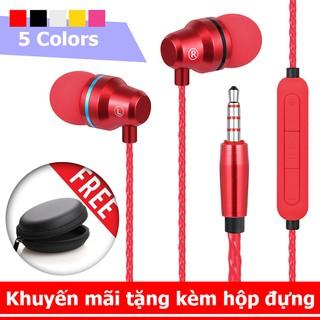 Tai nghe kim loại cao cấp L1 có mic, dây siêu bền, khuyến mãi tặng hộp đựng + nút tai