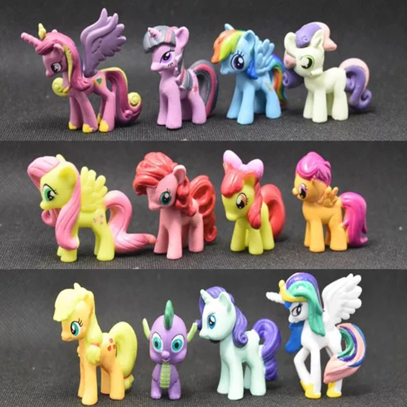 12PCS Simulated Small Pony Horse Model Figure Toy Kids Children Toys Home Decor