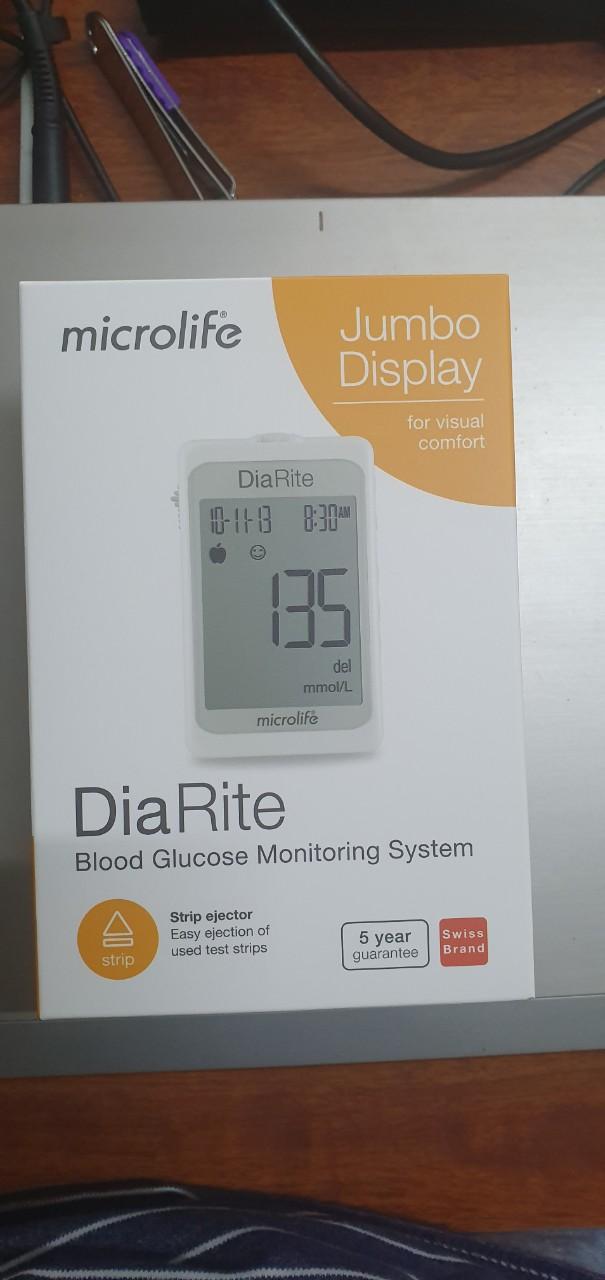 [HÀNG THỤY SĨ] Máy đo đường huyết Microlife DiaRite BGM - ĐO NHANH , CHÍNH XÁC CHỈ 5 GIÂY - TẶNG KÈM 25 QUE THỬ