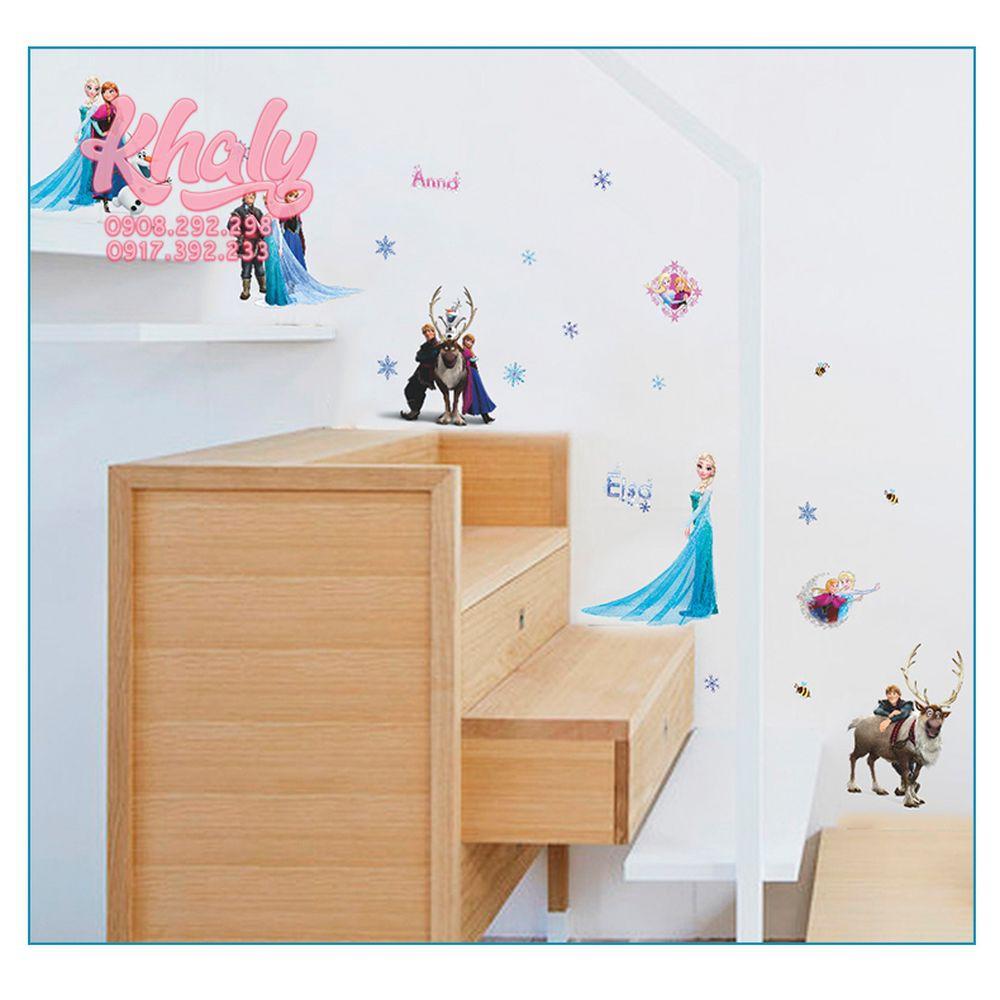 Hình dán decan sticker công chúa Elsa và Anna Frozen siêu xinh dán tường , tủ , cửa cho bé gái - 9C025F (42x57cm)