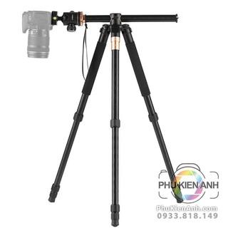 Tripod Beike Q999H có trục trượt ngang để chụp sản phẩm, quay phim, có mono tripod