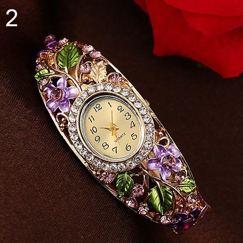 Đồng hồ đính đá trang trí hình hoa và lá bằng hợp kim cho nữ