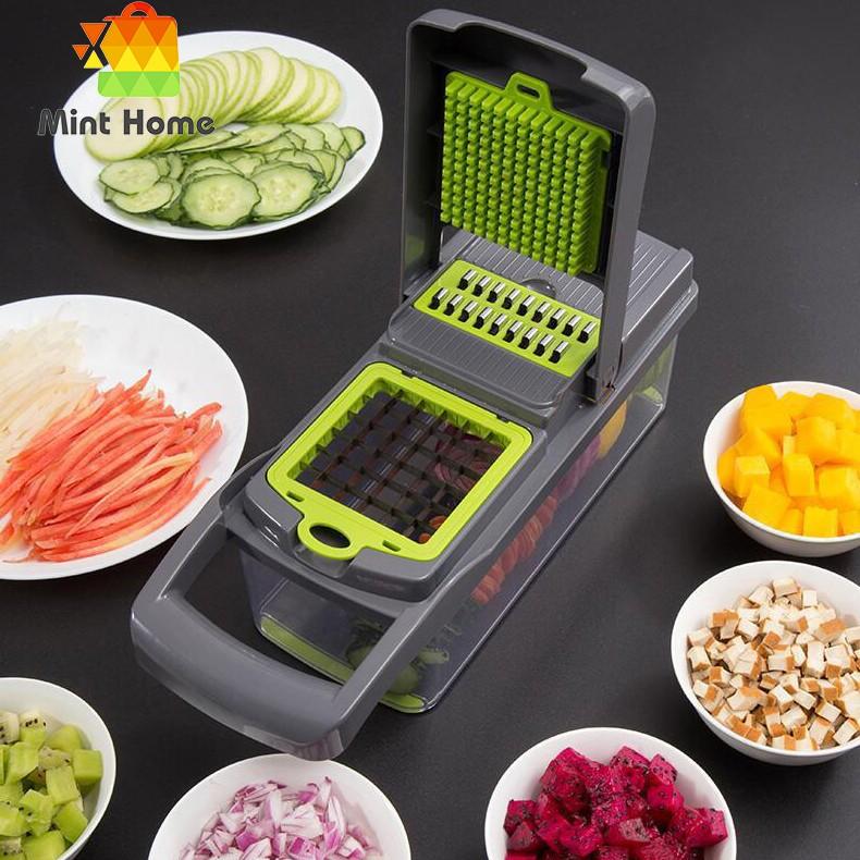 Dụng cụ hộp có nắp tích hợp dao cắt thái gọt nạo bào trái cây rau củ kiểu hạt lựu tiện lợi làm khoai tây phô mai sợi