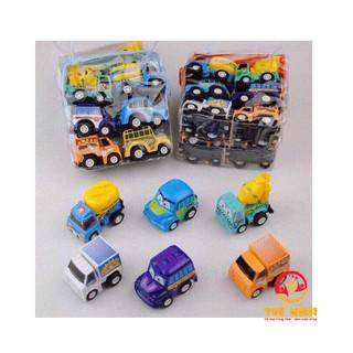 Bộ Đồ Chơi Set 6 Ô Tô Mini Bánh Đà Nhỏ Xinh Cho Bé