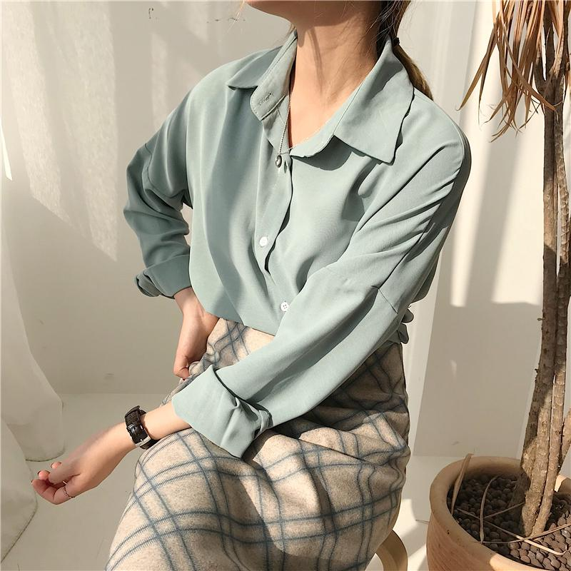 Loose solid color casual long sleeve shirt Chemises Shirt coat
