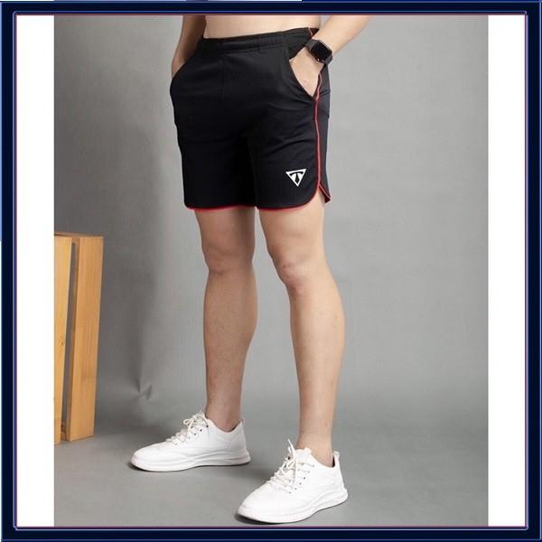 Quần Đùi Thể Thao Nam Line Bầu Vải Thun Lạnh Ts (Đen) [NUTTY] quần short thê thao, quần tập gym cao cấp
