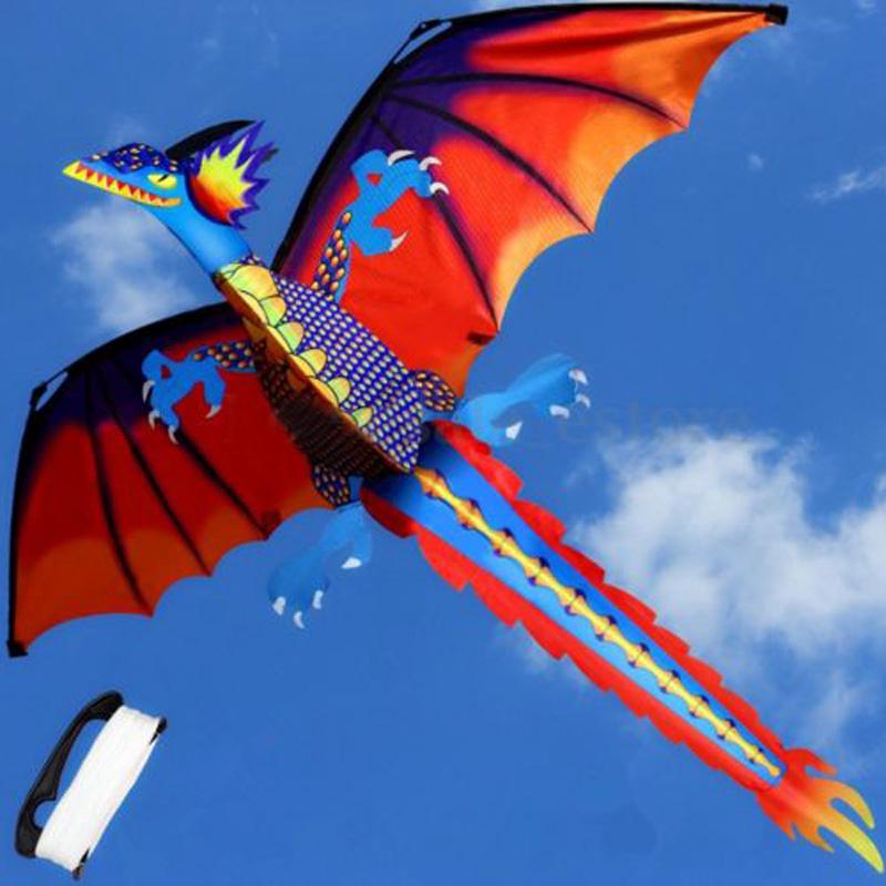 Classical 3D Dragon Kite Single Line With Tail Outdoor Sports Toy Kids
