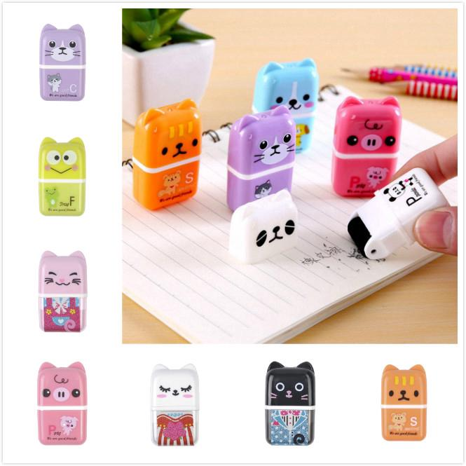 Kids Roller Eraser Animal Case Rubber Kawaii Stationery School Students Supplies