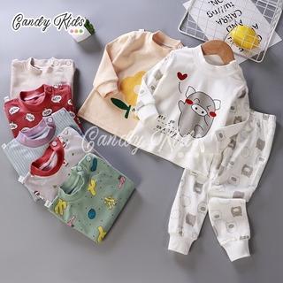 Bộ đồ ngủ cotton 100% thời trang thu đông cho bé trai và bé gái