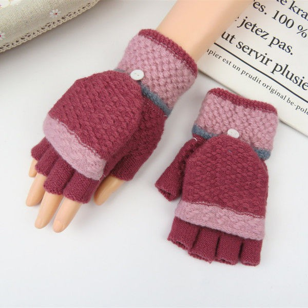 ﹍❧❣Winter lady warm half-finger gloves thick hair line dew finger with lid two-piece half-cut writing type woman