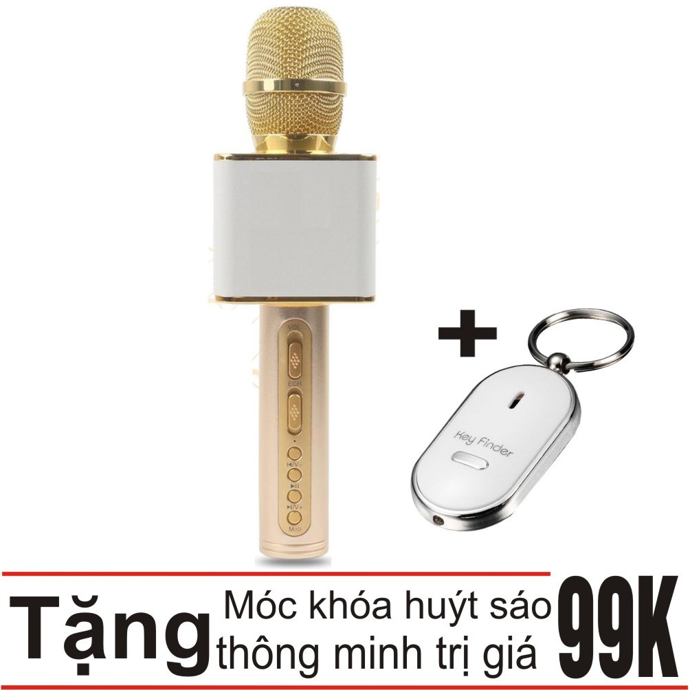 Combo Mic hát karaoke Bluetooth SD-08 cao cấp (vàng) Khang Nhung + Móc khóa huýt sáo