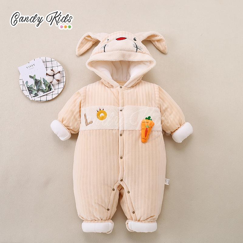 Đồ liền thân chất liệu cotton thiết kế cài nút dễ thương cho bé 0-2 tuổi