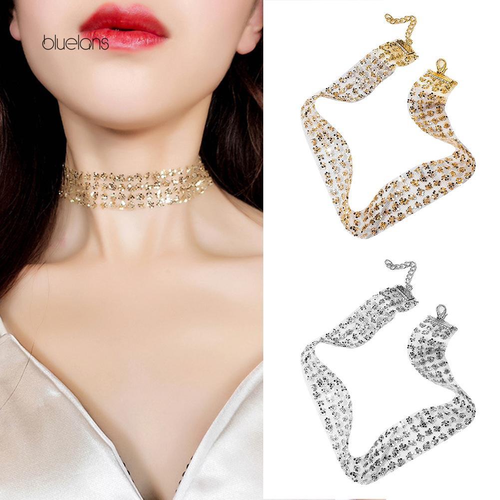 Vòng đeo sát cổ thiết kế lấp lánh thời trang cho nữ